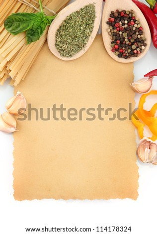 paper for recipes, spaghetti with vegetables and spices, isolated on white