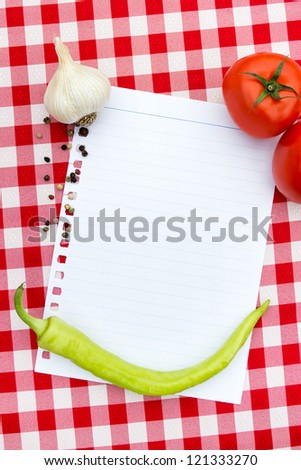 paper for recipes  with vegetables and spices
