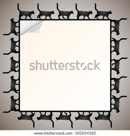 Paper frame with silhouette black cat. Raster version - stock photo