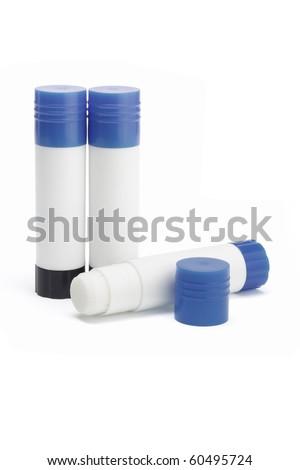 Paper glue sticks on white background