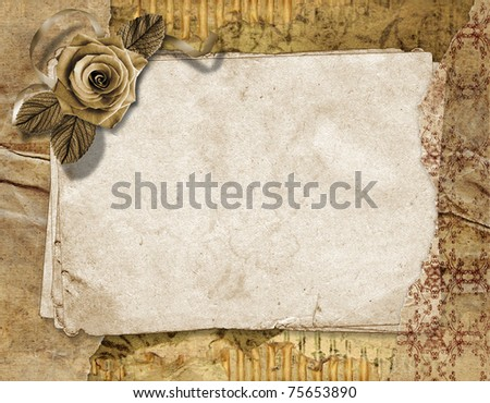 Paper grunge background with rose.