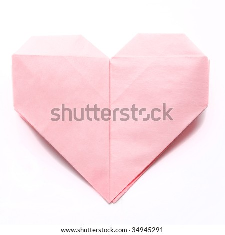 paper heart isolated on white