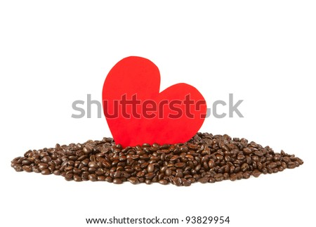 paper heart on coffee beans - stock photo