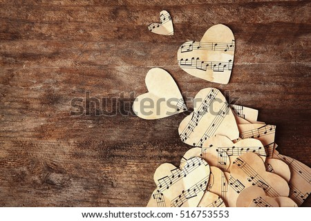 paper hearts with music notes...