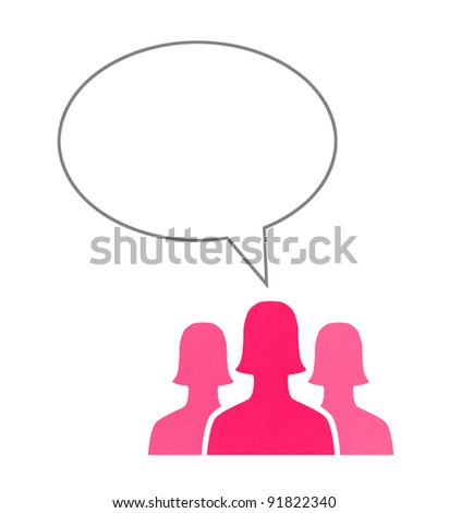 Paper human figures talk using speech bubbles. Concept image on communication theme. Isolated on white.