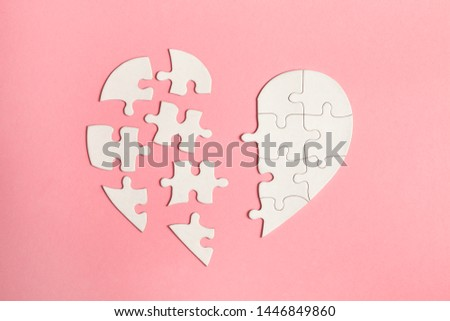 paper jigsaw puzzle heart isolated on pink background, top view, flat lay, divorce, depression and breakup concept, crying, medical cardiovascular health care problems #1446849860
