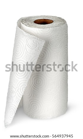 Paper kitchen towels unwound vertically isolated on white background