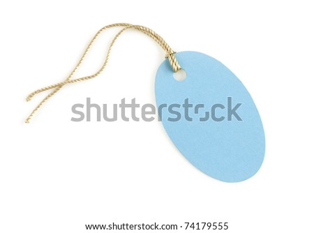 paper label blue color isolated on white