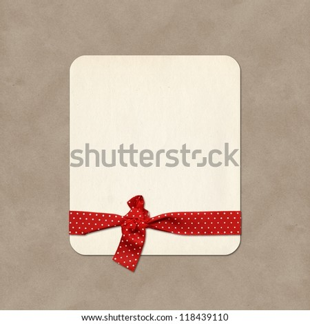 Paper label, gift card with ribbon