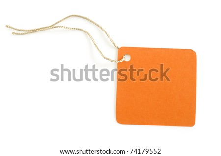 paper label orange color isolated on white