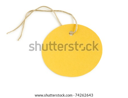 paper label yellow isolated on white