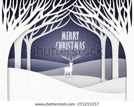 paper landscape of Christmas night with moose and forest