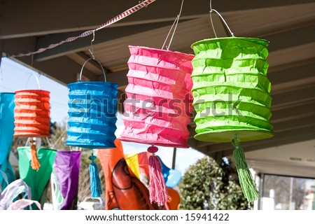 Paper lanterns in a stall at country market