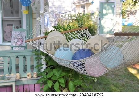 Paper lanterns laying in a hammock on Martha's Vineyard, MA.  Photo stock ©