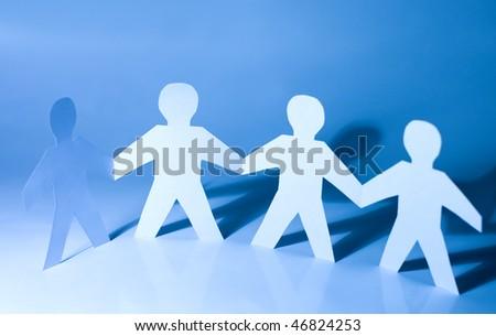 Paper little men holding hands #46824253