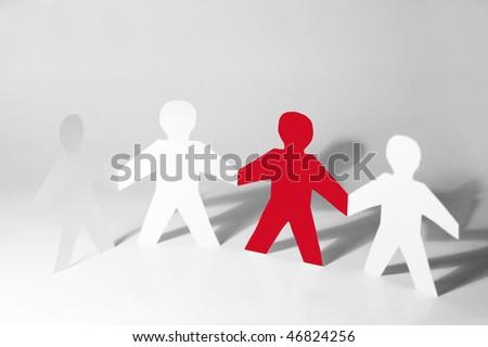 Paper little men holding hands #46824256