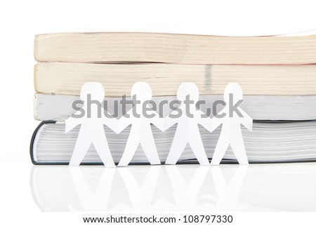 Paper man and book