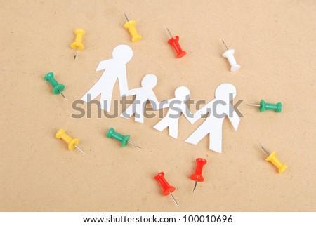 Paper man and push pin