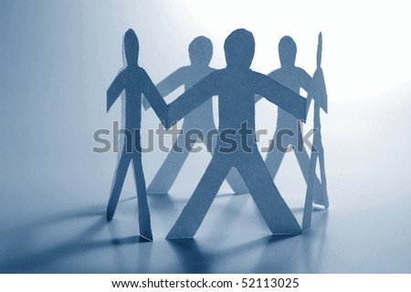 paper man showing concept for business teamwork and love - stock photo