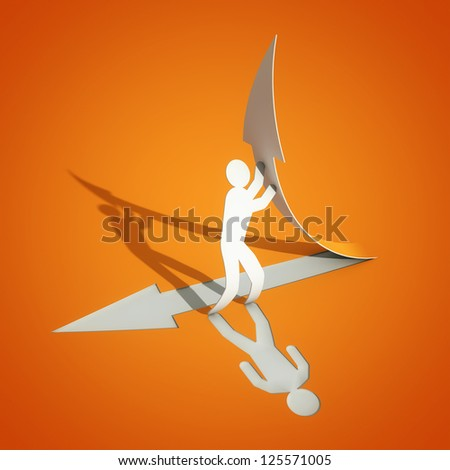 paper man with arrow - stock photo