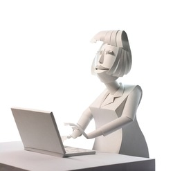 Paper model woman with laptop isolated on white background