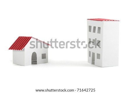 paper models of village and city dwelling houses with red roofs, isolated