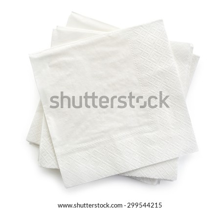 paper napkins isolated on white background, top view