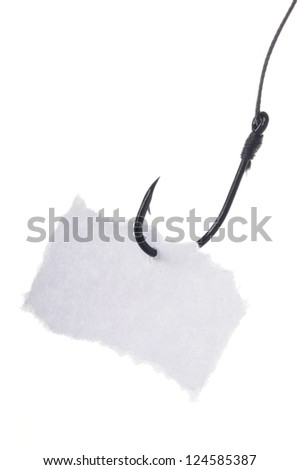 paper note on a fishing hook on white background