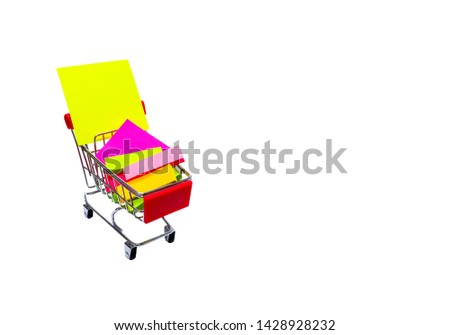 Paper note or sticky note of office stationery place on shopping cart isolated on white background with clipping path #1428928232