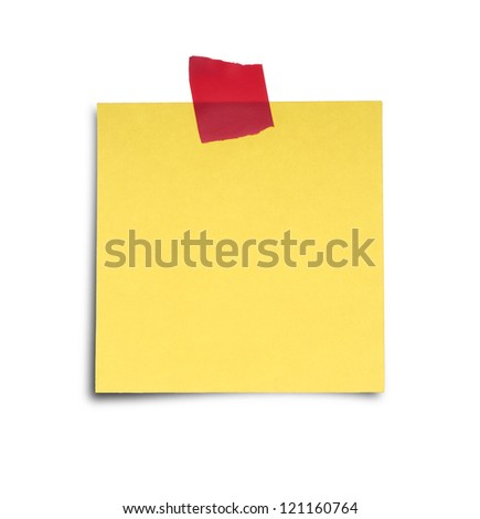 Paper note with sticky tape isolated on white background