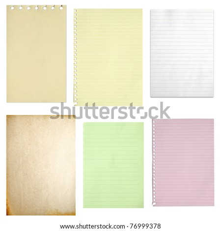 Paper notebook collection isolated on white background