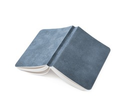 Paper notebook with a leather cover isolated over the white background