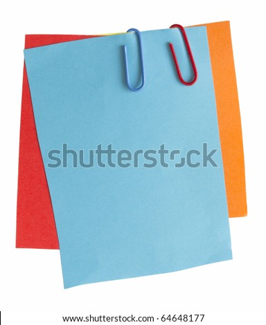 paper notes in different colors isolated on the white background
