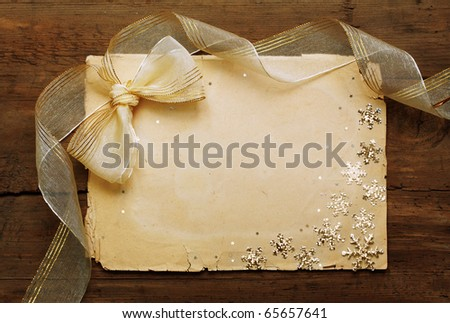 paper on wooden wall, christmas background