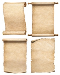 paper or old parchment scrolls set isolated on white