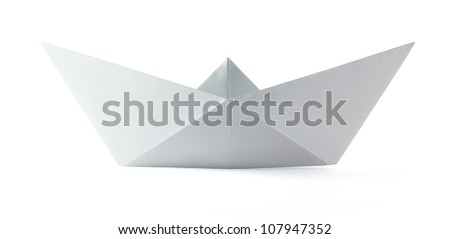 Paper origami boat on the white background