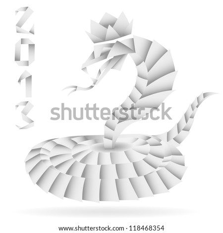 Paper Origami Snake with 2013 Year, isolated on white, illustration