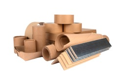 Paper packaging - cardboard edge protectors with alu paper, cardboard boxes, rolls of paper, paper tubes, packaging scotch tape, sheets of cardboard isolated. Sustainable packaging concept
