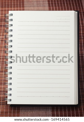 Paper page notebook. textured isolated on the mat backgrounds