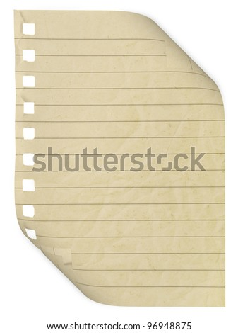 paper page notebook. textured isolated on the white backgrounds. collection