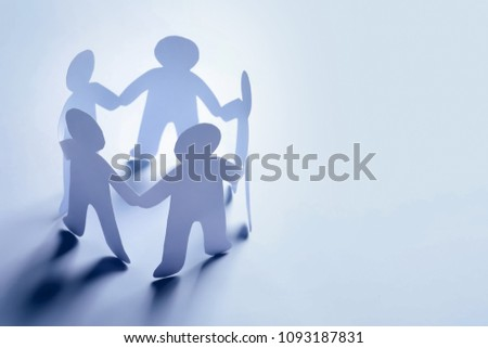 Paper people holding hands on light background. Unity concept #1093187831