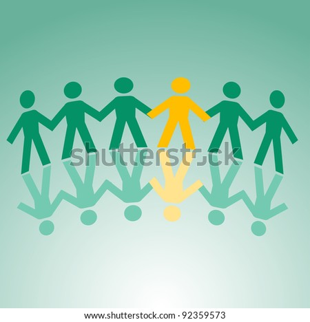 Paper peoples togetherness for communication or friendship concept design. Vector version also available in gallery