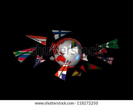 Paper Plane Flags with earth