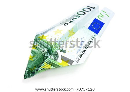 paper plane made with a 100 euro bill