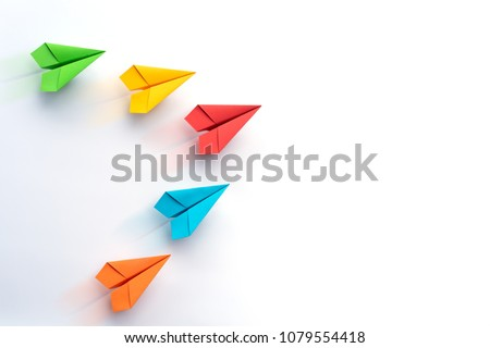 Paper plane on white background. Business competition concept. #1079554418