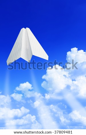 Paper plane take off. Sky and clouds in the background