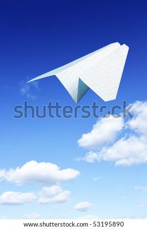 Paper plane taking off. Sky and clouds in the background