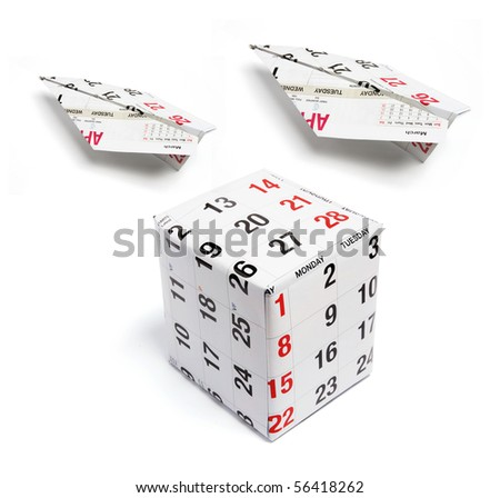 Paper Planes and Calendar Pages on White Background