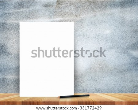 paper poster and pencil on grunge stone wall and wood floor,Mock up for display of product and content
