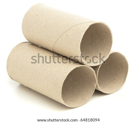 paper roll of bathroom on white abckground